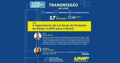 """Dia 17, quarta-feira, tem live da UNIP: """"A importância da Lei Geral de Proteção de Dados (LGPD) para o Brasil"""